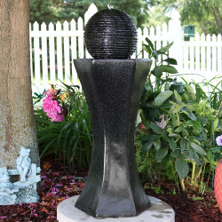 Sunnydaze Pedestal & Ball Solar on Demand Water Fountain with Black Finish, 31 Inch Tall