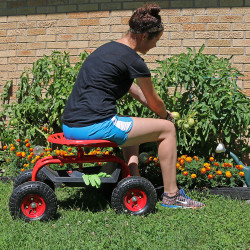 Exceptionnel Red Rolling Garden Cart With 360 Degree Swivel Seat U0026 Tray