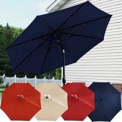 Sunnydaze Solar Powered LED Lighted Patio Umbrella with Tilt & Crank, 9 Foot