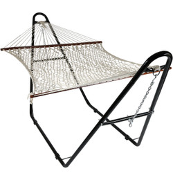 Sunnydaze Cotton Double Wide 2-Person Rope Hammock with Spreader Bars and Multi-Use Steel Stand