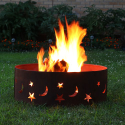 Sunnydaze 30 inch Rustic Stars and Moons Fire Pit Ring