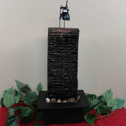 Sunnydaze Crest Slate Tabletop Water Fountain with LED Spotlight, 23 Inch Tall