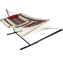 Sunnydaze Cotton Rope Hammock with 12 Foot Steel Stand, Pad and Pillow, 275 Pound Capacity