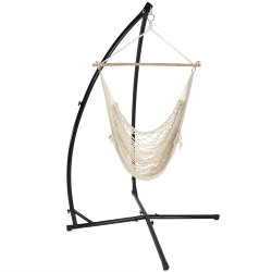 Sunnydaze Cotton Rope Hammock Chair with Wood Bar and  X-Stand Combo, Natural