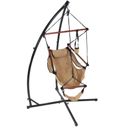 Sunnydaze Hanging Hammock Chair with Pillow, Drink Holder and  X-Stand