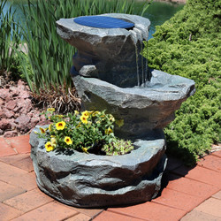 Gentil Sunnydaze Solar Garden Outdoor Water Fountain With Planter, 19 Inches Tall,  Includes Solar Pump And Panel