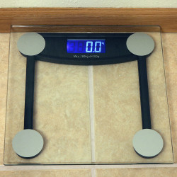 Sunnydaze Black Electronic Clear Glass Digital Bathroom Scale with LCD Display