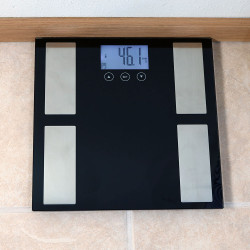 Sunnydaze Digital Precision High-Accuracy Body Fat Bathroom Scale with LCD Back-Lit Screen