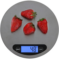 Sunnydaze Round Digital Food Kitchen Scale, Stainless Steel with LCD Display, 11lb./5kg