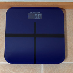 Sunnydaze Electronic Digital Glass Bathroom Scale with Step-On Technology, Blue