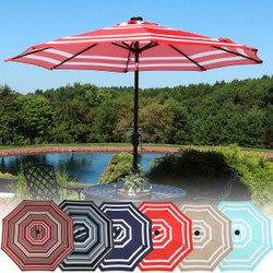Sunnydaze Solar LED Lighted 9-Foot Aluminum Umbrella with Tilt & Crank