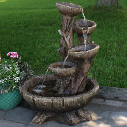 Sunnydaze Outdoor Five Tier Wooden Bowl Water Fountain with LED Lights, 32 Inch Tall,  Includes Electric Submersible Pump
