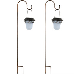 Elegant Solar Lantern With Shepherd Hook - Set of Two