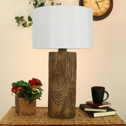 Sunnydaze Indoor/Outdoor Nature-Inspired Log Polyresin Table Lamp, 26 Inch Tall