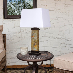 Sunnydaze Indoor/Outdoor Thin Natural Slate Table Lamp, 26 Inch Tall