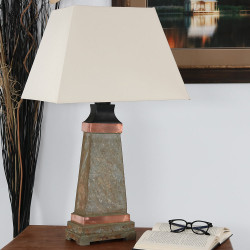 Sunnydaze Indoor/Outdoor Copper Trimmed Slate Table Lamp, 30 Inch Tall