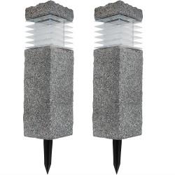 Sunnydaze 18-Inch Cement Bollard Pathway Light - Set of Two