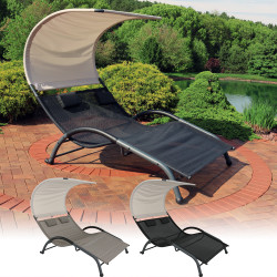 Sunnydaze Double Chaise Lounger with Canopy Shade and Removable Pillows