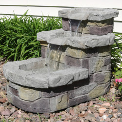 3 Tier Brick Steps Outdoor Water Fountain, Outdoors