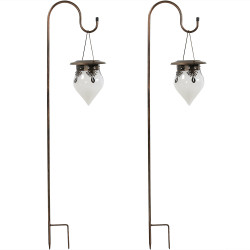 Rain Drop Outdoor Solar Light With Shepherd Hook - Set of Two
