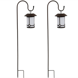 Traditional Outdoor Hanging Solar Lantern With Shepard Hook - Set of Two