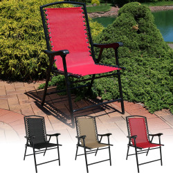 Sunnydaze Mesh Outdoor Suspension Folding Patio Lounge Chair, Choose from 1 Chair, or Set of 2