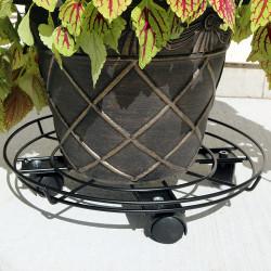 Sunnydaze Deluxe Metal Indoor/Outdoor Planter Caddy, 15 Inch Diameter
