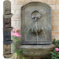Sunnydaze Seaside Solar Wall Fountain, 27 Inch Tall