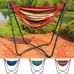 "Sunnydaze 2-Point Hanging Hammock Chair Swing and  Space-Saving ""A"" Stand Set, for Indoor or Outdoor Use"