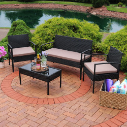 Sunnydaze Anadia 4-Piece Rattan Lounger Patio Furniture Set with Black Wicker and Cushions