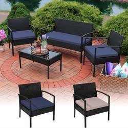 Anadia 4-Piece Rattan Lounger Patio Furniture Set Color Options