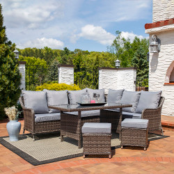Sunnydaze Aurelia 5-Piece Wicker Rattan Sofa Dining Patio Furniture Set