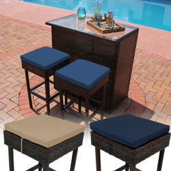 Sunnydaze Melindi 3-Piece Outdoor Patio Bar Set with Cushions