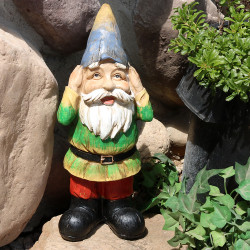 Sunnydaze Henry Hears No Evil Garden Gnome, 12 Inch Tall