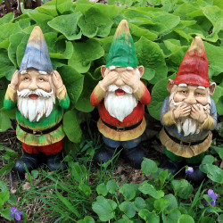 Sunnydaze Three Wise Gnomes, Hear No Evil, Speak No Evil, See No Evil Set