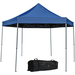 Sunnydaze Penthouse Quick-Up Instant Hexagon Canopy Gazebo Tent with Rolling Bag, 12 Foot, Blue