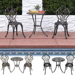 Sunnydaze 3-Piece Outdoor Cast Aluminum Patio Bistro Set, Color Options Available