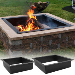 Sunnydaze Square Heavy-Duty Fire Pit Rim/Liner, DIY Fire Pit Above or In-Ground, Steel