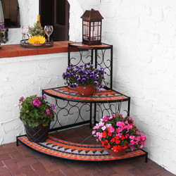 Sunnydaze 3-Tier Step Style Mosaic Tiled Indoor/Outdoor Corner Display Shelf for Plants and Decor, 40 Inch Tall