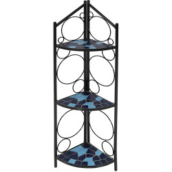 Sunnydaze 3-Tier Blue Mosaic Tiled Indoor/Outdoor Corner Display Shelf for Plants and Decor, 44 Inch Tall