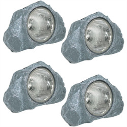 Small Rock With White Solar LED Light