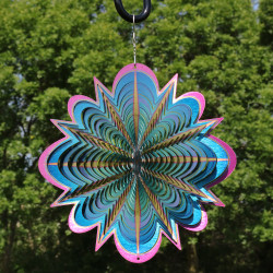 Sunnydaze 3D Blue Dream Wind Spinner with Hook, 12-Inch