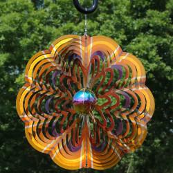 Sunnydaze Gold Dust 3D Whirligig Wind Spinner with Hook, 12-Inch
