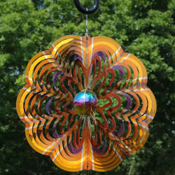 Sunnydaze Gold Dust 3D Whirligig Wind Spinner with Hook, 12-Inch