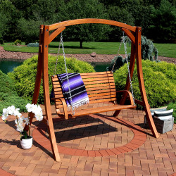 Sunnydaze Deluxe 2 Person Wooden Patio Swing for Patio, Deck or Yard