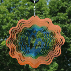 "Sunnydaze 12"" Reflective 3D Whirligig Dolphin Wind Spinner with Hook"