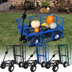 Sunnydaze Heavy-Duty Steel Dump Utility Garden Cart with Removable Sides, 660 Pound Capacity