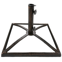 Sunnydaze Square Bronze Cast Iron Outdoor Patio Umbrella Base Stand, 17-Inch
