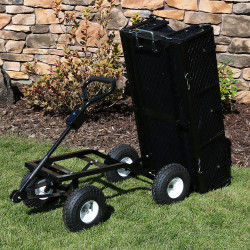 Sunnydaze Heavy-Duty Dumping Utility Cart with Removable Sides and Liner Set, 660 Pound Weight Capacity, Color Options Available