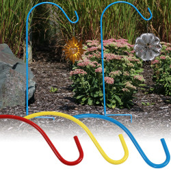 Sunnydaze Colored Single Shepherd Hooks, Set of 2, Size and Color Options Available